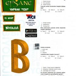 Açı Yayınları 10. Sınıf Biyoloji Efsane Yaprak Test