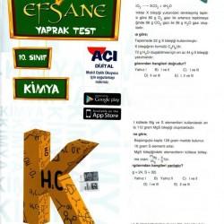 Açı Yayınları 10. Sınıf Kimya Efsane Yaprak Test