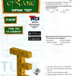 Açı Yayınları 10. Sınıf Türk Dili ve Edebiyatı Efsane Yaprak Test