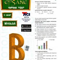 Açı Yayınları 11. Sınıf Biyoloji Efsane Yaprak Test