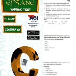 Açı Yayınları 11. Sınıf Coğrafya Efsane Yaprak Test