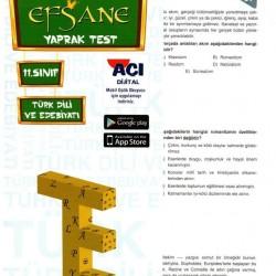 Açı Yayınları 11. Sınıf Türk Dili ve Edebiyatı Efsane Yaprak Test