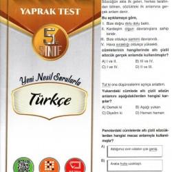 Açı Yayınları 5. Sınıf Türkçe Efsane Yaprak Test