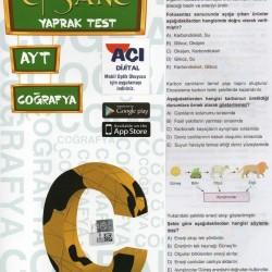 Açı Yayınları AYT Efsane Coğrafya Çek Kopart Yaprak Test