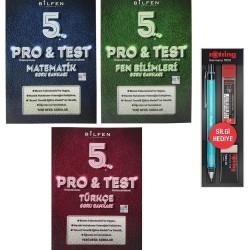 Bilfen 5. Sınıf Pro Test Matematik Türkçe Fen Soru Bankası 3 Kitap + Rotring Kalem Seti