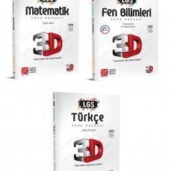 Çözüm 3D 8. Sınıf LGS Matematik Fen Türkçe Soru Bankası Seti 3 Kitap
